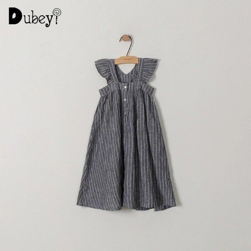 Nouveau été lâche rayé à manches volantes robe filles robe longue décontractée enfants robes pour les filles 4-12 ans fête de vacances