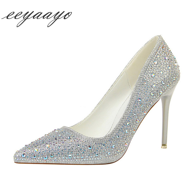 2019 New Spring/Autumn Women Pumps High Thin Heel Pointed Toe Shallow Sexy Crystal Bridal Wedding Women Shoes Silver High Heels