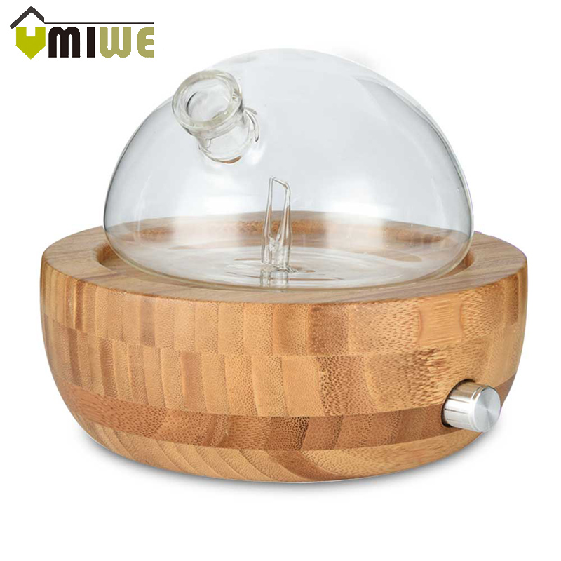 Bamboo Glass Essential Oil Nebulizer Aromatherapy Diffuser Humidifier Low Noise Mist Control TIMER Control Humidifiers for Home