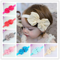 Retail Baby Girl Headwear Baby Chiffon Bow Ribbon Elasticity Headband Children Hair Accessories Baby Photo Props