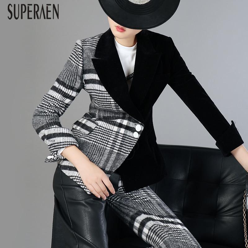 SuperAen 2019 Spring New Woolen Splice Plaid Jacket Female Velvet Fashion Casual Suit Jacket Women Europe