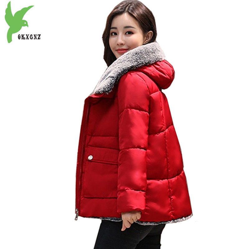 Plus size 5XL Short Winter Jacket Female Down Cotton Parkas 2017 New Hooded Coats Thick Warm Loose Women Outerwear OKXGNZ A1085 winter women denim jacket flocking coats new fashion hooded cotton parkas plus size jackets female warm casual outerwear l384
