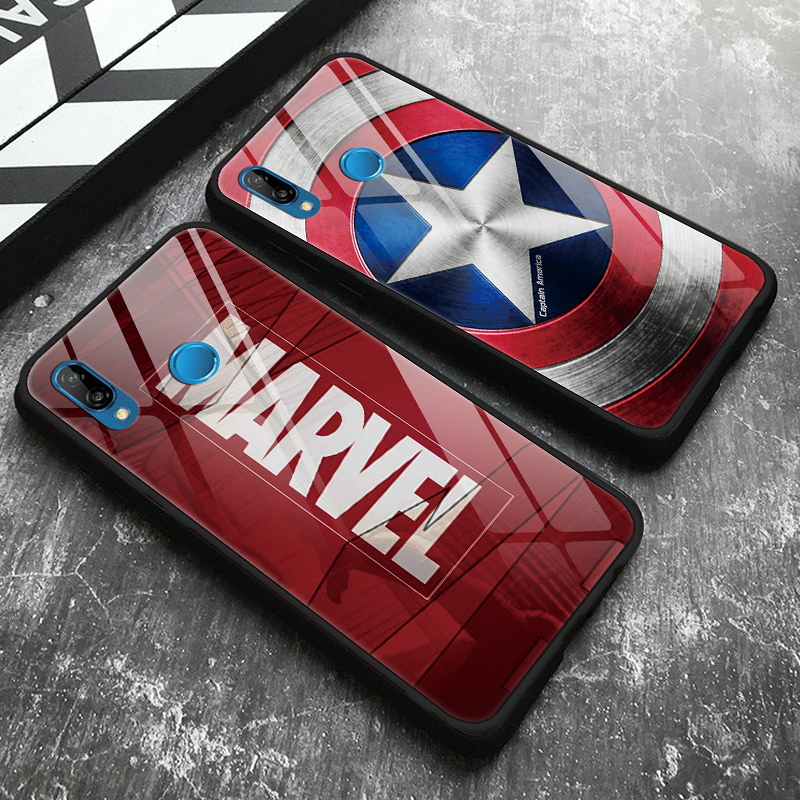 Racun Iron Man Marvel Tempered Kaca Penutup untuk Huawei P20 Lite P Smart P9 P10 Plus Pro Mate 20 Pro 10 Lite TPU Y9 2019 2018 Case