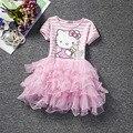 Olá Vaquinha Dos Desenhos Animados Menina Vestido Bolo de Manga Puff Vestido de Princesa Crianças Vestidos Para a Roupa Da Menina da Festa de Aniversário Vestido de Escola