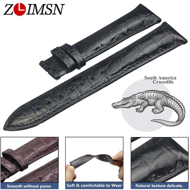 ZLIMSN Double Crocodile Skin Strap Quick Installation Brown Black for Mens Women Luxury Alligator Watch Band