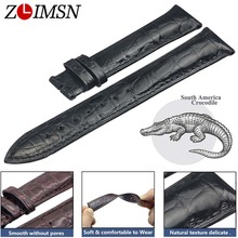 ZLIMSN Double Crocodile Skin Strap Quick Installation Brown Black for Mens Women Luxury Alligator Watch Band Size 18mm 20mm 22mm