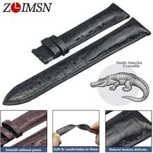 ZLIMSN כפול תנין עור רצועת מהיר התקנה חום שחור עבור Mens נשים יוקרה תנין שעון להקת גודל 18mm 20mm 22mm