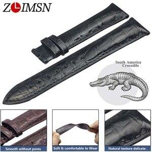 Image 1 - ZLIMSN כפול תנין עור רצועת מהיר התקנה חום שחור עבור Mens נשים יוקרה תנין שעון להקת גודל 18mm 20mm 22mm