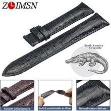 Zlimsn Dubbele Krokodillenleer Riem Quick Installatie Bruin Zwart Voor Heren Vrouwen Luxe Alligator Horloge Band Maat 18 Mm 20mm 22 Mm