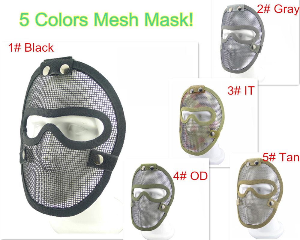 5 Colors Perfect Airsoft Paintball Wargame Mesh Mask Tactical Full face strike metal mesh V4 Protective Face mask Free Shipping