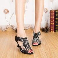 Customize Heels Yellow Blue Black Quality Women Dance Shoes Rhinestone Latin Shoes Dancing Shoes for Women