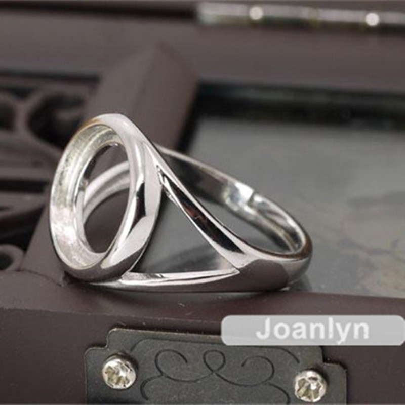 Ring Setting for 8x10mm Oval Cabochons or Faceted Gemstones White Gold Plated 925 Silver Zircon Adjustable Band Ring Blank JZ021