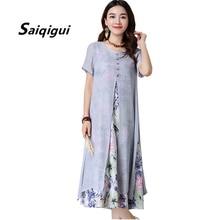 Saiqigui 2018 robe d été femmes Style chinois décontracté lâche coton ligne  robe imprimer o-cou vestidos de festa 8326425b842a