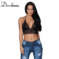 Dear Lover Black Sheer Scalloped Lace Halter Bralette Top Sexy V Neck Backless Lace Short Crop