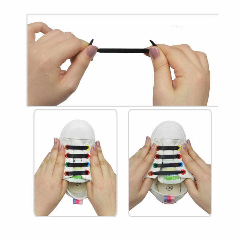 12 шт./компл. черные силиконовые шнурки без галстука для детей подарок плоские эластичные шнурки для кроссовок мальчиков и девочек