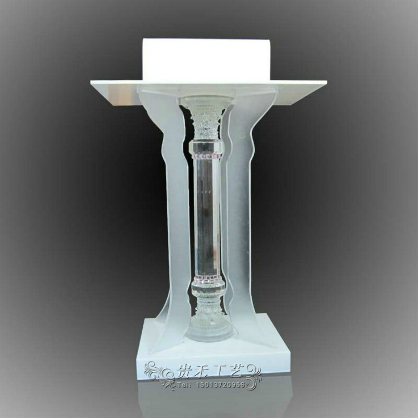 Acrylic Crystal Column Stand up, Floor-Standing Podium, Lectern (Clear) GUIHEYUN fixture displays clear acrylic plexiglass podium curved aluminum sides pulpit lectern