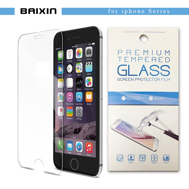 """baixin Tempered glass For iphone X 8 4s 5 5s SE 6 6s 7 Toughened Protective screen protector for iphone 6s 8 7plus 5.5""""+Package"""