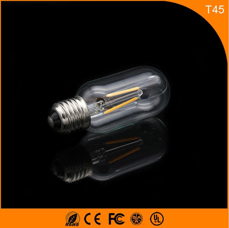 50PCS 2W E27 B22 Led Bulb, T45 LED COB Vintage Edison Light ,Filament Light Retro Bulb AC 220V 5pcs e27 led bulb 2w 4w 6w vintage cold white warm white edison lamp g45 led filament decorative bulb ac 220v 240v