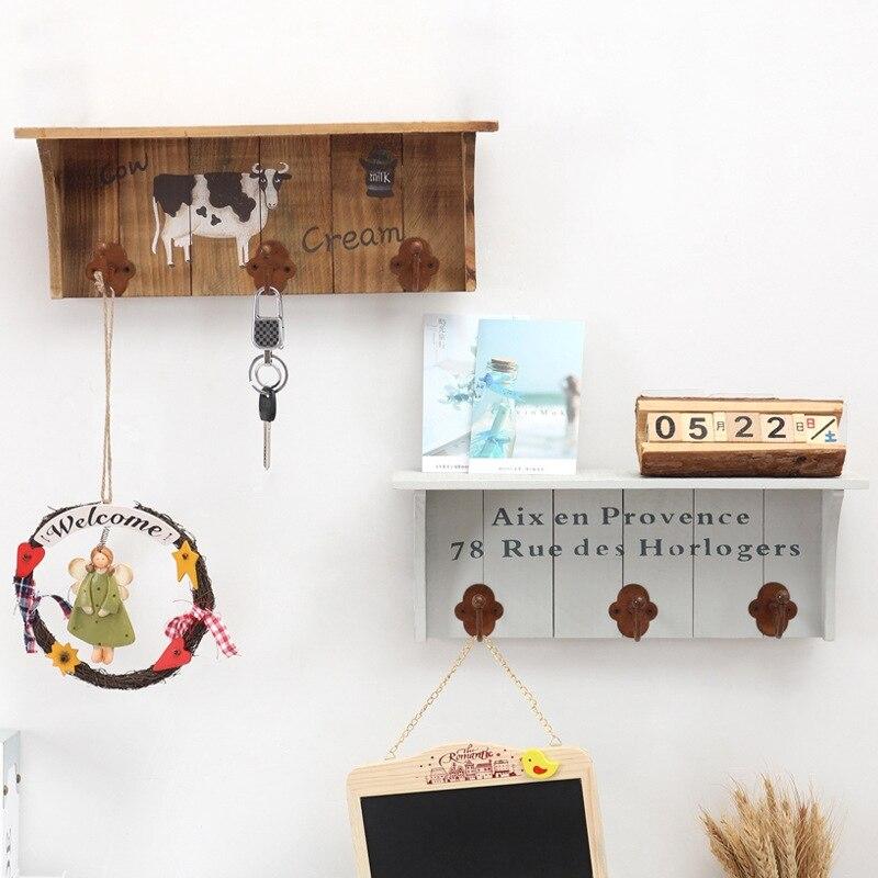 retro wooden hooks organizer for cloth hat Umbrella bag key wall hanging hooks Furnishing decoration Small object hook 2 styles & ツ)_/¯retro wooden hooks organizer for cloth hat Umbrella bag key ...
