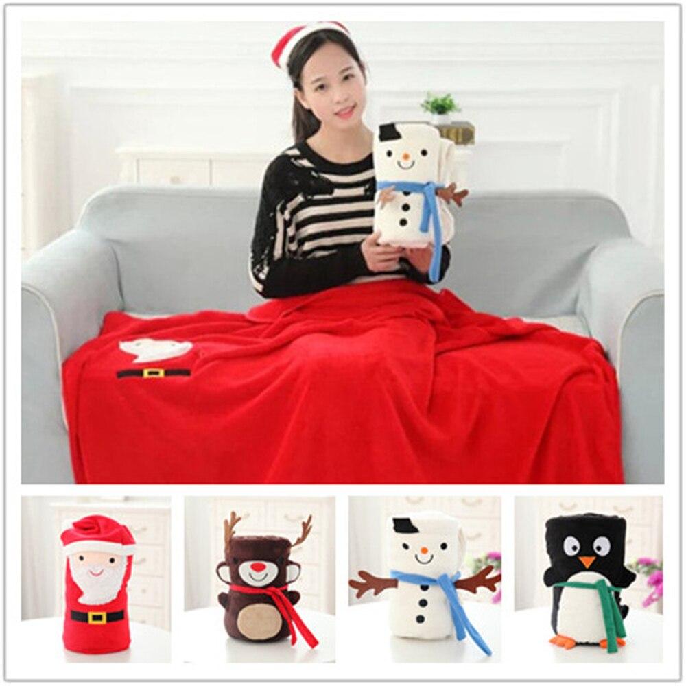 Christmas soft blanket cute cartoon xmas sofa bed blanket for Sofa bed for xmas