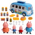 New arrival Pink pig family 4pcs George Pig Toys Peppaed Out Touring Picnic Camping Car Peppar Pig Blue Car Toys Baby Gift K13