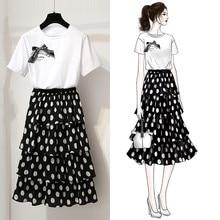 ICHOIX retro two piece set women polka dot long skirt & white tops 2 pieces outfits korean style 2019 summer