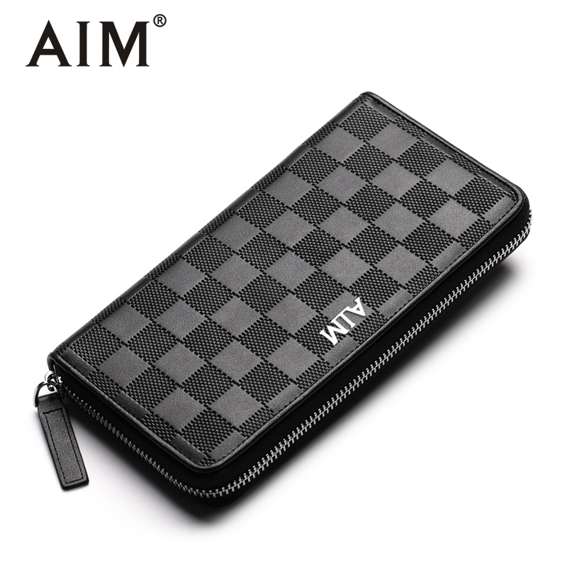 AIM Fashion Plaid Clutch Wallets for Men Leather Zipper Purse Large Capacity Card Holder Phone Men Wallet Coin Pocket 16mhb0051 thin color block fitted straight leg zipper fly plaid shorts for men