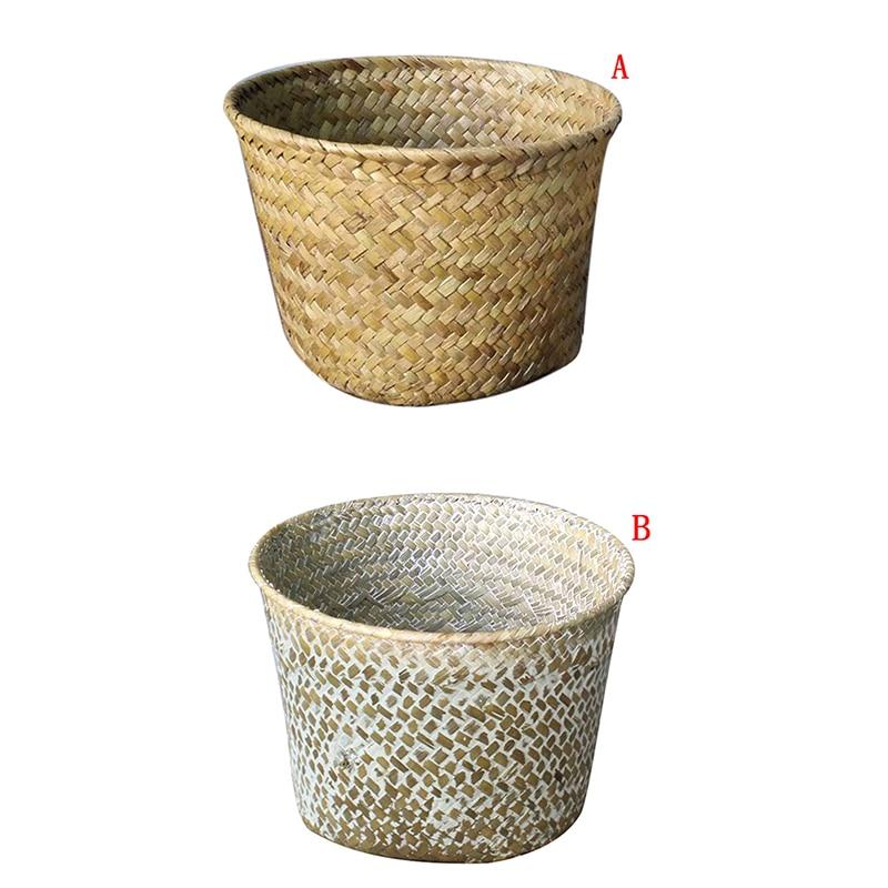 2019 Handmade Bamboo Storage Baskets Laundry Straw Patchwork Wicker Rattan Seagrass Belly Garden Flower Pot Planter Basket
