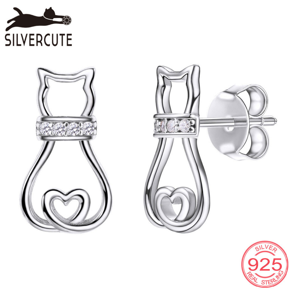 Silvercute Cat Kitty Stud Ականջօղեր և AAA խորանարդ - Նուրբ զարդեր - Լուսանկար 1