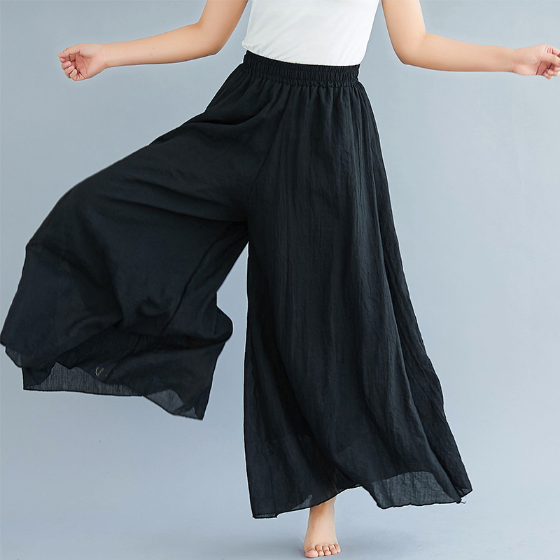 #0605Elastic High Waist Beach Cotton Linen Wide Leg Pants Women Large Size Full Length Trousers Female Retro Loose Spring Summer