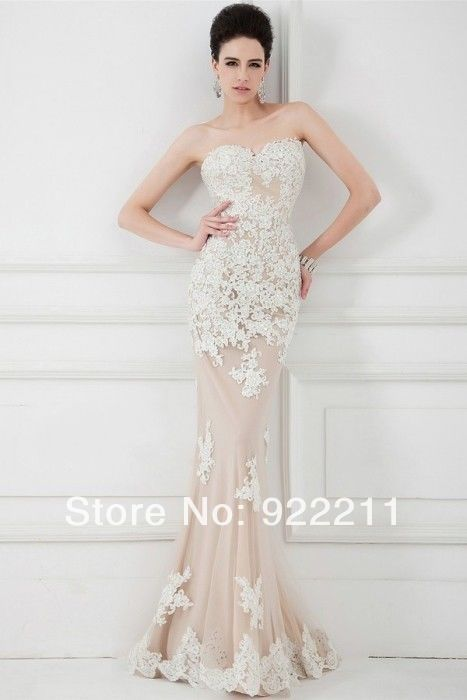 New White Lace Nude Tulle Mermaid Formal Evening Party Dress Prom Wedding Gowns-In -4440