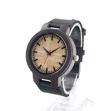 БОБО ПТИЦА Часы Мужчины Роскошные Кожаные мужские Часы 100% Природный Зебра Древесины Бамбука Наручные Часы Идеи Подарков C23