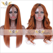 7A Ombre Orange Human Hair Lace Front Wigs Brazilian Straight Hair Ombre Full Lace Wigs Orange Lace Ombre Wigs With Baby Hair