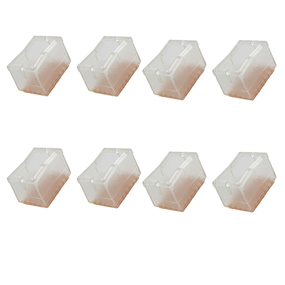 New 8 Pcs Silicone Rectangle Square Transparent Chair Leg Caps Feet Pads  Furniture Table Covers Wood