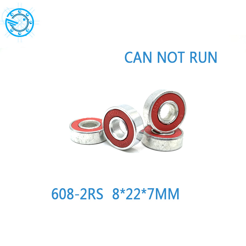 Free shipping 10pcs 608 2RS 8 22 7mm red rubber Bearings for decration Hand Spinner Tri