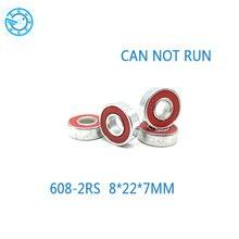จัดส่งฟรี10ชิ้น608*8*22 7มิลลิเมตรสีแดงแบริ่งยางสำหรับdecrationมือปั่นTriปั่นอยู่ไม่สุขของเล่นอุปกรณ์เสริม