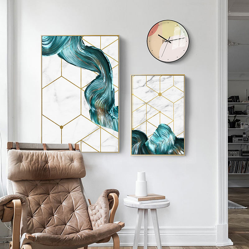 HTB1AhhwafvsK1Rjy0Fiq6zwtXXaR Nordic Geometric Wall Art Canvas Painting Abstract Blue Fabric Poster Print Modern Minimalist Picture for Living Room Home Decor