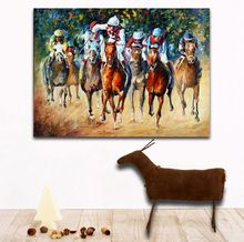 Modern 100% Handpainted Palette Knife Painting Race on The Sand And Snow Canvas Wall Hangings for Home Office Decoration