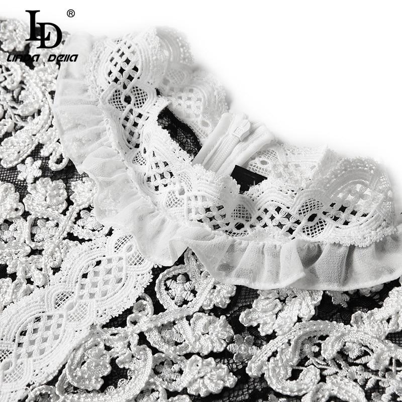 Flor Bordado Mujeres Della Encaje Moda Ld Malla Las Manga Fiesta Larga Linda Largo De Vestidos Vintage Multiple Elegante Vestido OWq7zq5