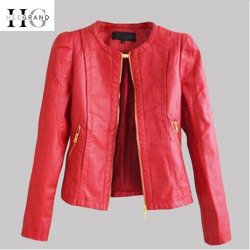 HEE GRAND 2018 Autumn Ladies Coat Slim Faux Leather Motorcycle Jackets Women Hot Red PU Jacket Jaqueta De Couro Feminina WWP214