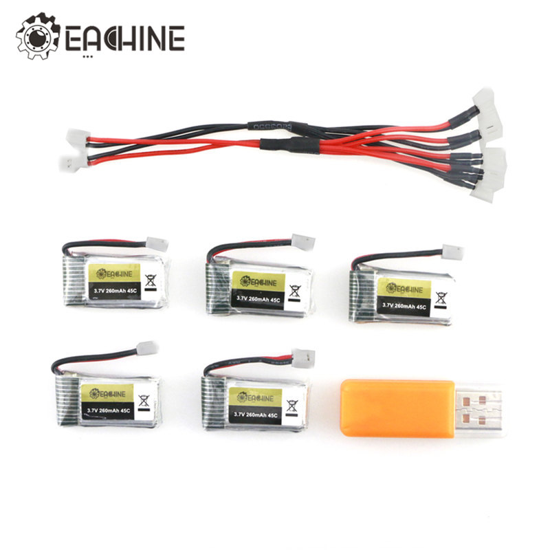 5PCS Eachine E010 E010C E011 E011C E013 3.7V 260MAH 45C Rechargeable Lipo Battery USB Charger Sets For RC Quadcopter Models