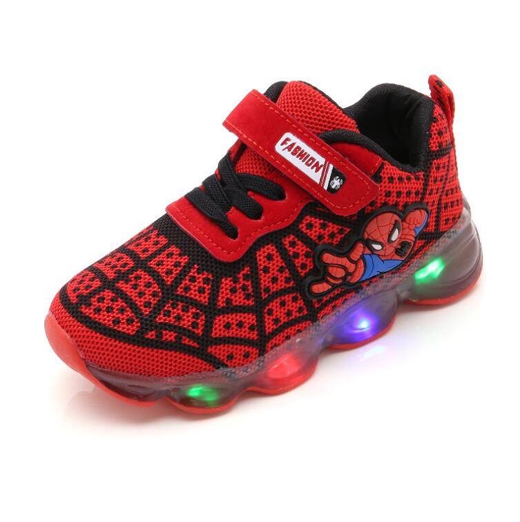 Hot Spiderman Kids Boys Sports Sneakers Children Glowing Kids Shoe Chaussure Enfant Girls Shoe With LED light Size 21-30Hot Spiderman Kids Boys Sports Sneakers Children Glowing Kids Shoe Chaussure Enfant Girls Shoe With LED light Size 21-30