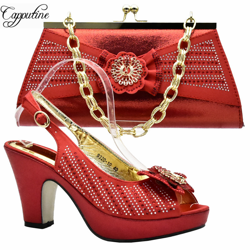 Capputine New Arrival African Woman Shoes And Matching Bag Set Italian Decorated With Rhinestone Pumps Shoe And Bag Set DF-011 набор fiskars 1025439 топор х5 нож пила садовая