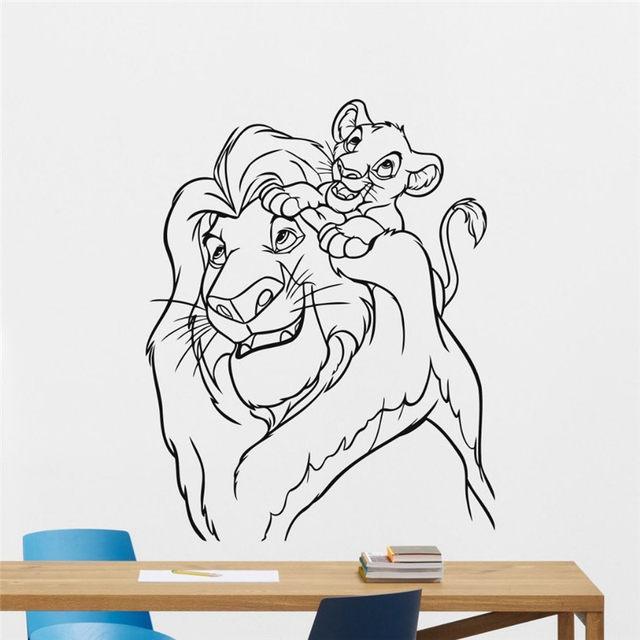 Lion King Wall Decal Cartoons Vinyl Sticker Simba Nursery Wall Sticker Kids  Baby Room Wall Art Wall Children Mural