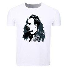 Tamaño asiático hombres y mujeres impresión Friedrich Nietzsche moda  camiseta o-cuello manga corta verano e70ff835ac1