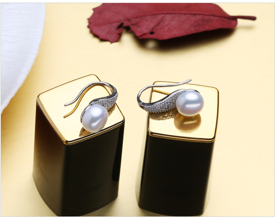 HTB1Ahj.fBfH8KJjy1Xbq6zLdXXap FENASY Pearl Jewelry 925 Sterling Silver Cubic Zirconia CZ Classic Freshwater Pearls Stud Earrings For Women Birthday Idea Gift