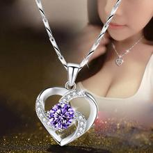 Everoyal Exquisite Zircon Heart Girl Clavicle Necklace For Women Jewelry Fashion Sterling Silver 925 Girls Purple Bijou