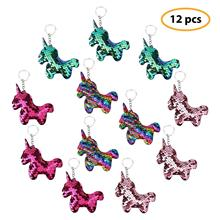 METABLE Pack of 12 Unicorn Keychains Flip Sequin Colorful Charms Party Favors Supplies