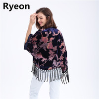 Ryeon Xl 4Xl Plus Size Velvet Women Kimono Cardigan Tassel Navy Blue Floral Regular Sleeve Open