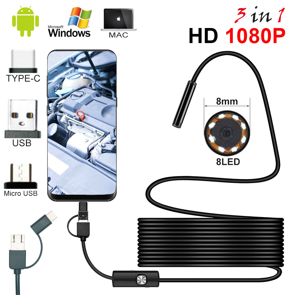 1080P USB Endoscope Camera 2M 5M 10M Flexible Hard Cable Snake Inspection Borescope Camera Android PC Notebook 8LEDs Adjustable